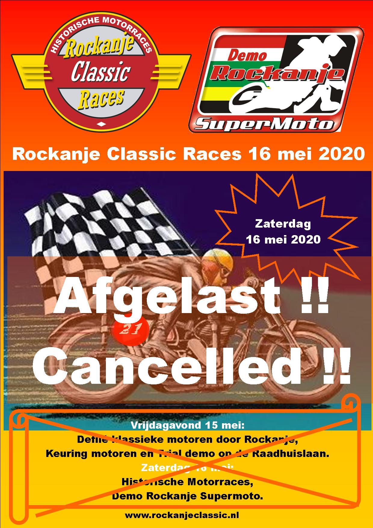 Rockanje Classic Races 2020 afgelast.